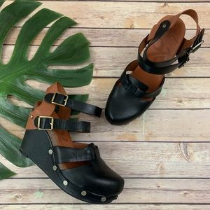 OTBT Aiken black and brown chunky strap wedges